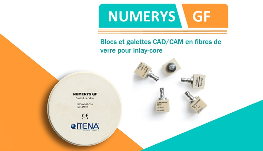 Blocs et galettes CAD/CAM en fibre de verre pour inlay-core Numerys GF